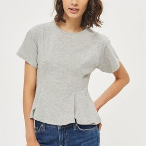 Topshop Corset Seam T Shirt Gray US 8 NWT